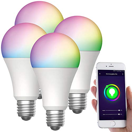 Luminea Home Control E27-Wi-Fi-LED-Lampen: 4er-Set WLAN-LED-Lampen, für Amazon Alexa/GA, E27, RGB, CCT, 12 W (LED-Lampen mit Sprachsteuerungen)
