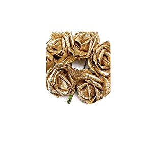 Solarwind2 Fake-flowers 7 Foam Rose Artificial Flower Glitter Bridal Bouquet Home Wedding Decoration Silver Color According to The Picture,Gold