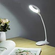 حلقة اضاءة LED تعمل باللمس بمفتاح تشغيل وايقاف، مصباح مكتبي بمشبك، قابل للشحن بمنفذ USB، بضوء LED ابيض ليلي للطاولة مناسب ...