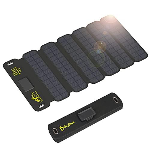 BigBlue 15W Caricabatterie Solare Portatile 2-Porte USB, Pannelli Solari Impermeabile con Cavo di Tipo C per Dispositivi Ricaricabili iPhone Android GoPro ECC