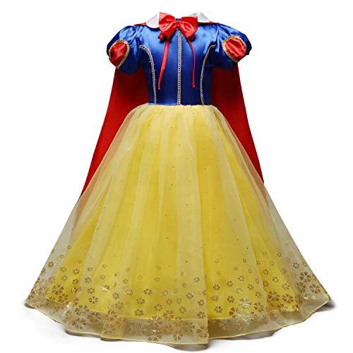 FMYFWY Nias Vestidos de Blancanieves con Capa Disfraz de Carnaval Princesa Cumpleaos Traje de Halloween Navidad Fiesta de Cosplay Ceremonia Aniversario Bautizo Comunin Boda 4-5