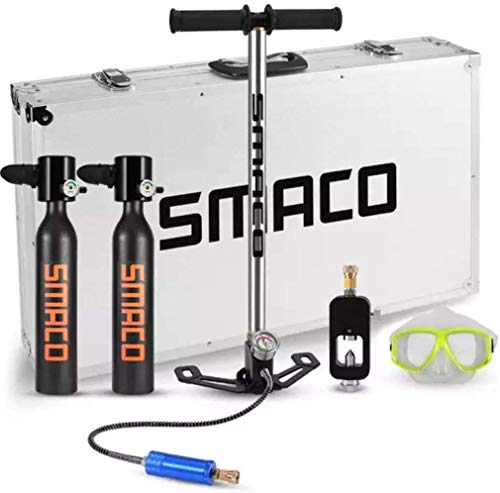 SMACO Scuba Diving Tank Equipment, Mini Oxygen Tanks for Breathing, 0.5L Mini Portable Dive Oxygen Tank, Pressure & Corrosion Resistant Material with Refillable Design. (Black-E)
