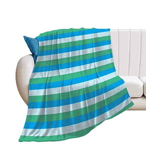 Donghouse Blanket Pale Blue Aqua Green and Turquoise Stripes Flannel Blanket Comfort Velvet Touch Ultra Plush, Novelty Soft Throw Blankets fit Couch Sofa Bedspread Coverlet Bed Cover 60' X 80'