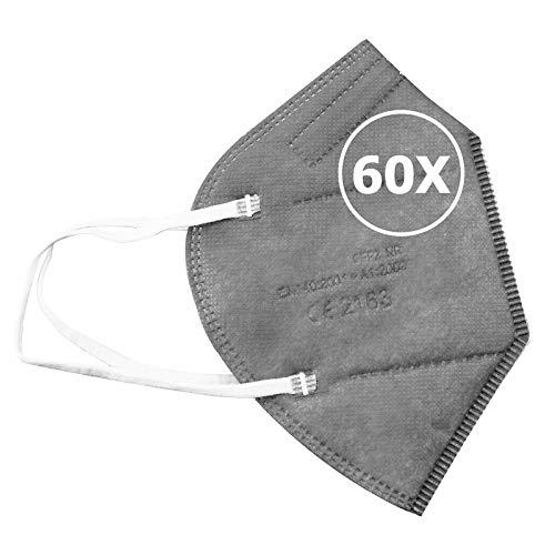 TBOC Mascarillas FFP2 -  [Pack 60 Unidades] Máscaras Desechables [Color Gris] 5 Capas [No Reutilizables] Transpirables Plegables con Pinza Nasal [Certificadas y Homologadas CE 2163] Calidad Premium