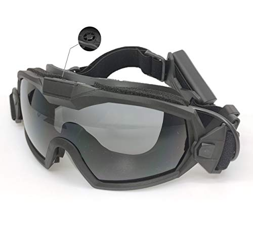 PAIRSOFTWIN Airsoft Tactical Goggles with Fan Anti Fog Cooler with 2 Interchangeable Lens for Paintball Cycling Ski Snowboard Shooting Hunting (Black)