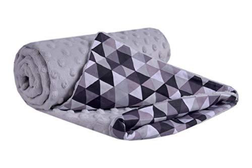 Krabbeldecke 100% Baumwolle 75x100cm doppelseitig multifunktional Minky Kuscheldecke für Kinderwagen weich flauschig (graue Dreiecke mit grauen Minky)