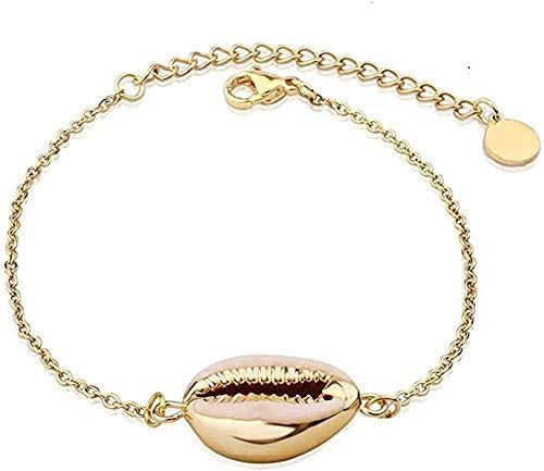 Liuqingzhou Co.,ltd Collar Bohemia Shell Charm Bracelet para Mujer Color Dorado Pulseras de Cadena de eslabones de Acero Inoxidable Summer Beach Jewelry Longitud 21Cm