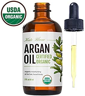 Moroccan Argan Oil, USDA Certified Organic, Virgin, 100% Pure, Cold Pressed by Kate Blanc. Stimulate Growth for Dry and Damaged Hair. Skin Moisturizer. Nails Protector. 1-Year Guarantee. (Light 2oz)