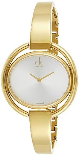 Calvin Klein Damen Analog Quarz Uhr mit Edelstahl beschichtet Armband K4F2N516