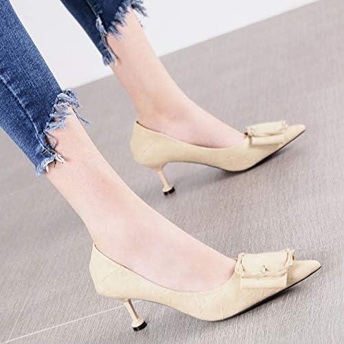 HRCxue zapatos de la Corte Moda Puntiaguda Boca Baja Hebilla de Metal Estilete Solo zapatos Salvajes Tacones Altos mujeres