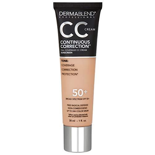 Dermablend Continuous Correction Tone-Evening CC Cream Foundation SPF 50+, Full Coverage Foundation Makeup & Color Corrector, Non-Comedogenic
