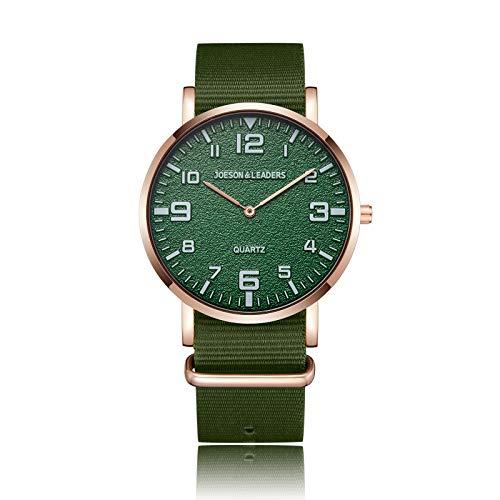 JOESON LEADERS Armbanduhr, modisch, 3 ATM wasserdicht, Outdoor, Unisex, Quarz, Sport-Armbanduhr mit Nylon-Armband, grün,