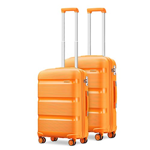 Kono Sets 2 Piece Luggage Polypropylene Suitcase 20'+24' Lightweight Hard Shell Travel Trolley with TSA Lock Spinner Wheels (Orange)