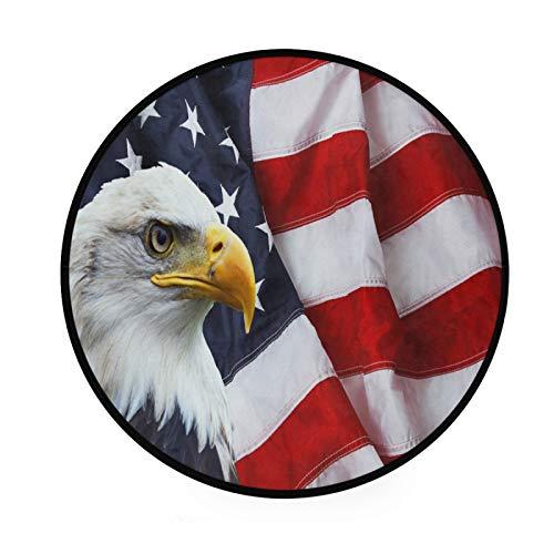 JUMBEAR - Alfombra de área redonda con diseño de águila americana para niños, alfombra decorativa para cocina, salón, comedor, dormitorio, sala de juegos, dormitorio de 91,4 cm