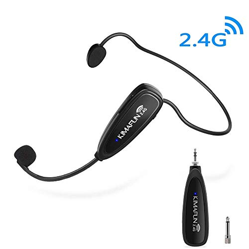 Wireless Microphone Headset, Kimafun 2.4G Wireless Microphone Transmitter & Receiver, Headset and Handheld 2 in 1 for Voice Amplifier, Recording, Speaking, Online Chatting (G100)