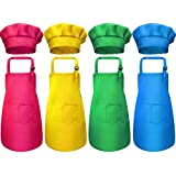8 Pezzi Bambini Grembiule e Set Cappello da Cuoco, Ragazzi Regolabile Grembiuli in Cotone per Bambini con Grembiuli da Cucina a 2 Tasche per Indossare Abbigliamento da Cucina (Colore 2, Medio)
