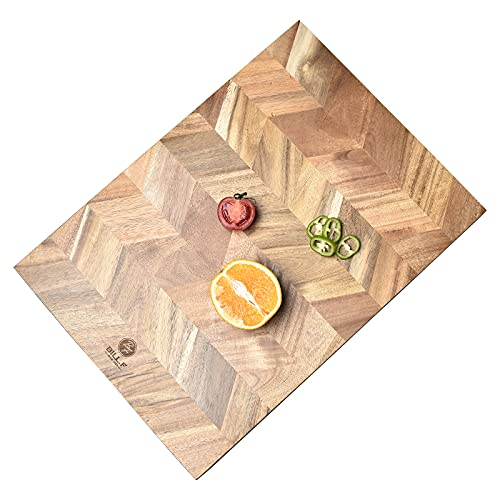 Chopping Board, Acacia Wood Kitchen Cutting Board with End-Grain, Large Wooden Chopping Boards 18 by 13 by 1 Inch