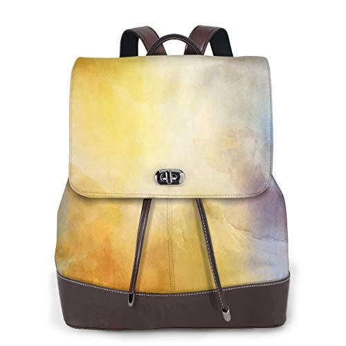 Fashion Schultertasche Malerei Aquarell Papier Abstrakter Rucksack PU Leder Frauen Mädchen Damen Rucksack Reisetasche, siehe abbildung - Größe: Einheitsgröße