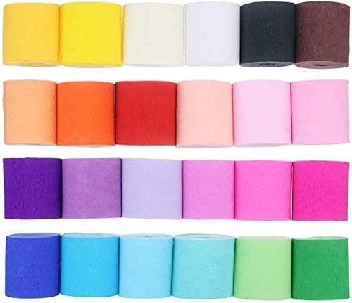 Papel Crepé de 24 Colores, 10 m x 5 cm Crepé Bandas para Varios Fiesta de Cumpleaños Fiesta de Boda Decoraciones del Partido (10m x 5cm) ✅
