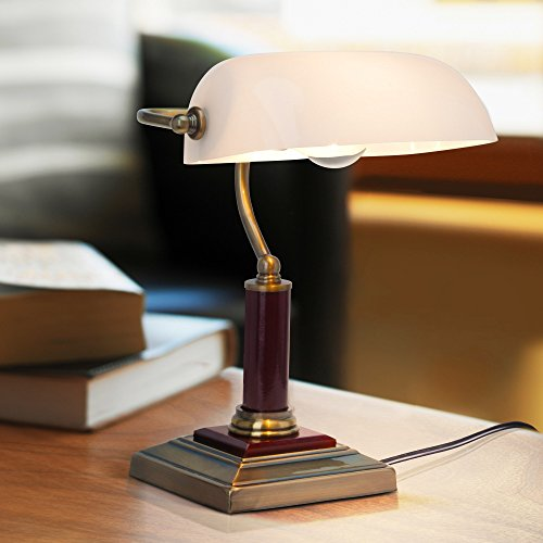 Elegante Bankerlampe, Schreibtischleuchte, mit Holzsockel, 1x E27 max. 60W, Metall/Holz/Glas, messing antik