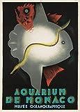 Vintage de viaje Mónaco para la Monaco-Ville Acuario y Museo oceanográfico por Jean Carlu, from1926. 250gsm brillante Art Tarjeta A3reproducción de póster
