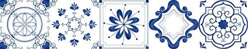 10 PCS Mediterráneo Azulejo Blanco Pegatinas de pared de azulejos, calcomanías de azulejos de adhesivo para decoración de cocina DIY Impermeable PVC Fondos de pantalla ( Color : 3 , Size : 15x75cm )