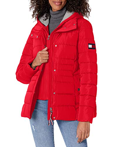 Tommy Hilfiger Women's Short Heritage Puffer, Crimson, Small