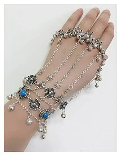 miaoyu Pulsera de dedo bohemia con cuentas de resina azul y pulseras y brazaletes Antalya Gypsy flor turca campanas tribales joyería étnica (color metálico: azul)