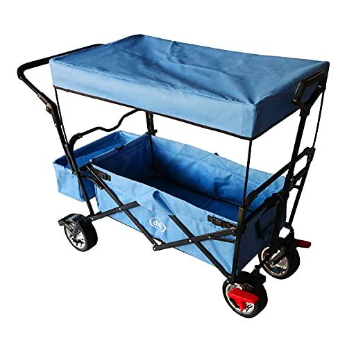 AXI AB210 Opvouwbare Bolderwagen/Vouwwagen met dak, tas, rem en duwstang Blauw – Metaal