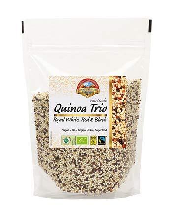 Bio Fairtrade Quinoa Trio Royal 1,75kg Öko, glutenfrei, weiß-rot-schwarze Quinoa Komposition, aromatisch, großkörnig Premiumqualität, extra gereinigt, aus Bolivien in über 4000m Höhe angebaut 7x250g