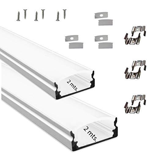 Litner Led-Perfil de aluminio para LED canal tira con difusor opaco PACK 4 metros con soporte de montaje