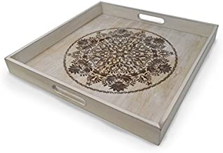 Decorative Wooden Serving Tray With Engraved Art, Ottoman Breakfast Tray For Carrying Drinks Letters Mail, 15.75 x 15.75 in (40 x 40 cm) Display Piece, Rustic Antique Distressed Look