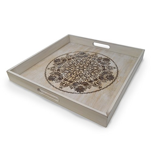 Decorative Wooden Serving Tray With Engraved Art Ottoman Breakfast Tray For Carrying Drinks Letters Mail 1575 x 1575 in 40 x 40 cm Display Piece Rustic Antique Distressed Look