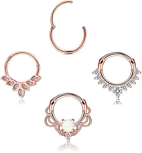 Adramata 4PCS 16G Septum Clicker Ring Opal CZ Cartilage Helix Tragus Daith Earrings Hinged Segment Clicker Ring Stainless Steel Nose Hoop Piercing Jewelry 10MM