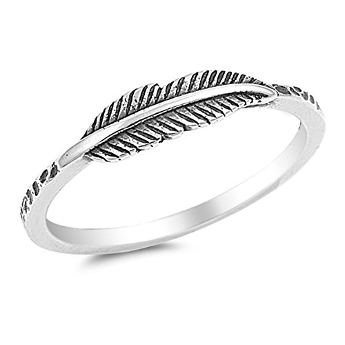 Oxidized Leaf Fashion Feather Ring New .925 Sterling Silver Band Size 7