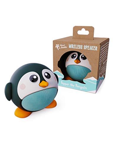 Planet Buddies Altavoz Bluetooth para niños, 4 Horas de reproducción y micrófono Incorporado, fácil de conectar, Altavoz inalámbrico de 33 pies Compatible con iPhone, Samsung y más - Pingüino Negro