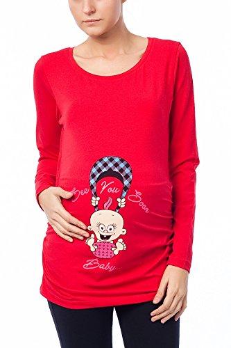 Vendido por MamiMode See You Soon – Camiseta de maternidad divertida y divertida con motivo de embarazo, manga larga rojo 44-46