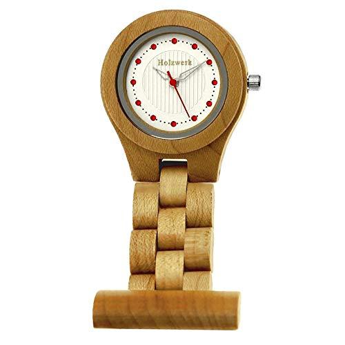Handgefertigte Holzwerk Germany® Schwestern-Uhr Taschen-Uhr Ansteck-Uhr Puls-Uhr Kittel-Uhr Pflegeuhr-Uhr Öko Natur Holz-Uhr Braun Ahorn Weiß Zebra Krankenschwester-Uhr Analog Klassisch Quarz-Uhr