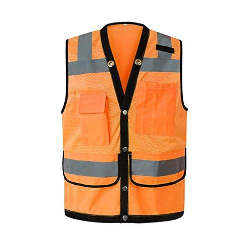 chaleco trabajo Chaleco reflectante de alta visibilidad, de protección transpirable for obras de construcción, Tráfico nocturno multifuncional, reflectante arquitectónica ( Color : Orange , Size : S )