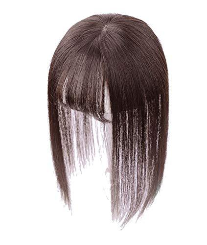 7,6 cm x 10,9 cm Kronen-Topper Echthaar für Frauen mit 3D Air Pony, Clip in Hair Topper für dünner werdendes Haar, 30,5 cm Dunkelbraun