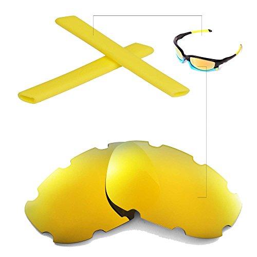 Walleva Belüftet Wechselgläser Und Earsocks für Oakley Split Jacket Sonnenbrille - Mehrfache Optionen (24K Gold Polarisierte Linsen + Gelber Gummi)