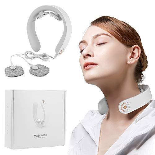 Massaggiatore Cervicale, Massaggiatore Elettrico per Collo Cordless Massaggio Profondo del Collo del tessuto con Funzione di Riscaldamento Portatile 3D Massaggiatore per Collo Intelligente, 5 Modalità