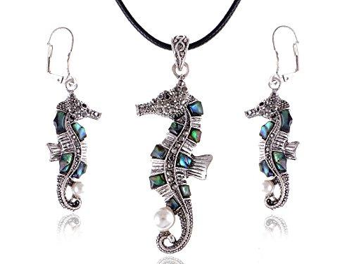 Alilang Juego de collar y arete de caballito de mar en tono plateado envejecido, piedras de abulón de color perla sintética