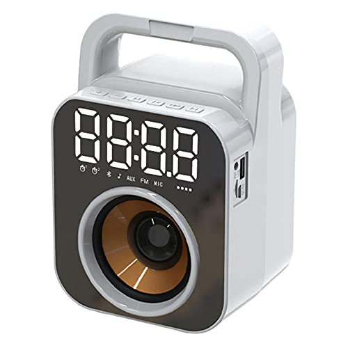 TUIHJA Reloj Despertador con Altavoz Bluetooth, Radio Reloj FM, Sistema de Cine en Casa Portátil Compatible con Reproducción de Disco AUX TF U, Conexión USB MúSica InaláMbrica