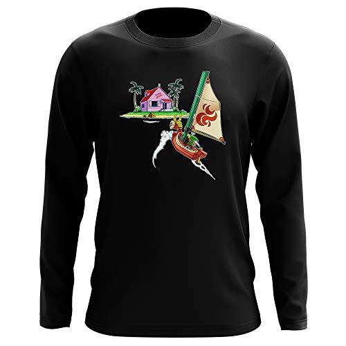 T-Shirt Manches Longues Noir Parodie Dragon Ball Z - Zelda - Link et la Kame House - La découverte d'une Nouvelle île. (T-Shirt de qualité Premium de Taille L - imprimé en France)