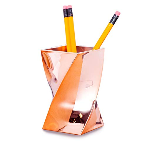 Zodaca [Wave] Stylish Rose Gold Pen Holder, Chrome Color Pencil Cup Desktop Stationery Organizer