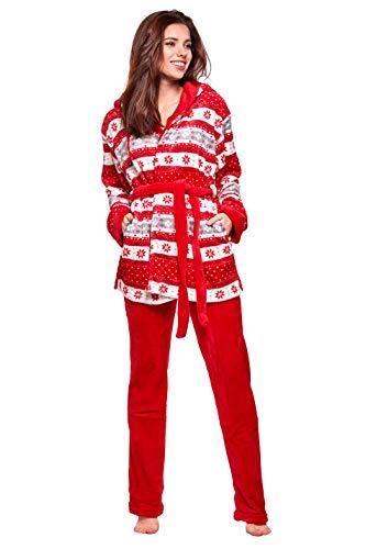 Selente Sweet Dreams Soffice Completo Donna per casa in Caldo Pile: Vestaglia con Tasche, Cappuccio, Cintura e Pantaloni, Rosso Neve, M