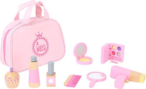 Small Foot 10607 Make-up Spielset aus Holz in rosa für Kinder, lustiges Rollenspiel in Tragetasche Spielzeug