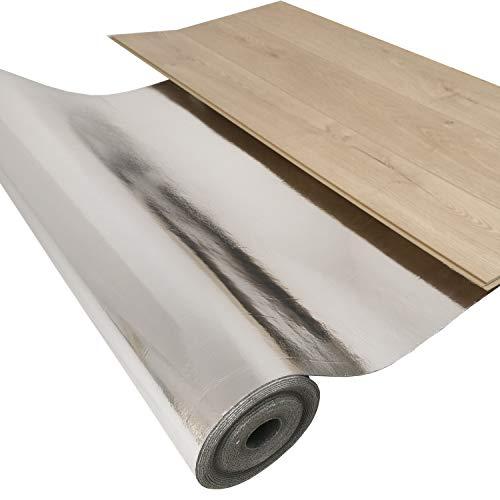 10 m² Silence Floor Akustik ALU Trittschalldämmung und Gehschalldämmung für Laminat und Parkett mit Alu-Dampfbremse, Stärke: 2 mm - Rollengröße: 10 m² - Raumdichte: 1000 kg/m³ - Druckfestigkeit: 150 kPa - Wir machen Ihren Boden Leiser !!