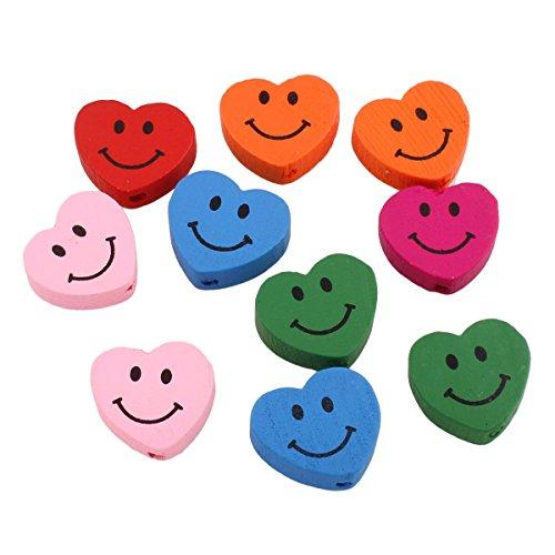 perlin 20stk cuentas de madera 17mm infantil perlas corazón con smiley Cara Diseño Chupete Cadenas normativa Manualidades cuentas de madera con agujero para fädeln mezcla Mix Colores H145X 2